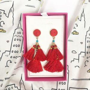 🆕 PINK LINEN Red Gold Blue Tassel Earrings